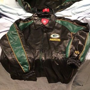 NFL Green Bay Packers faux leather  zipper jacket